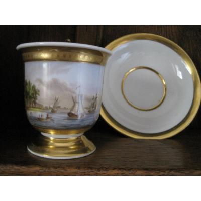 Tasse Et Soustasse En Porcelaine De Paris, Avec Vue du Port de Rotterdam, Vers 1830