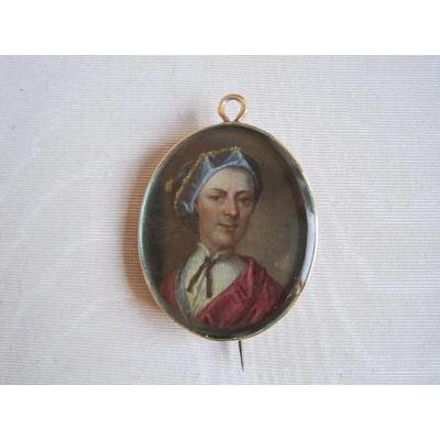 Miniature Portrait, Oil On Copper Of A Man, Mounted As A Broach, England XVIIIth Century