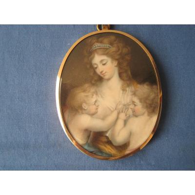 Miniature Portrait Sur Ivoire, Mère Et Son Enfants, ècole Anglaise, Fin Du XVIIIe