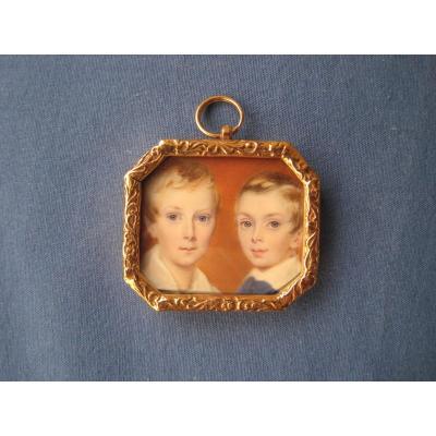 Miniature Portrait, Deux Enfants, Acquerelle Sur Ivoire, Ecole Anglaise, Vers 1840