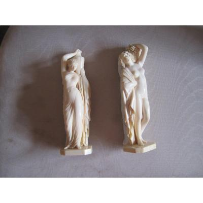 Pair Of Ivory Classic Figures, Dieppe Early 20th Century