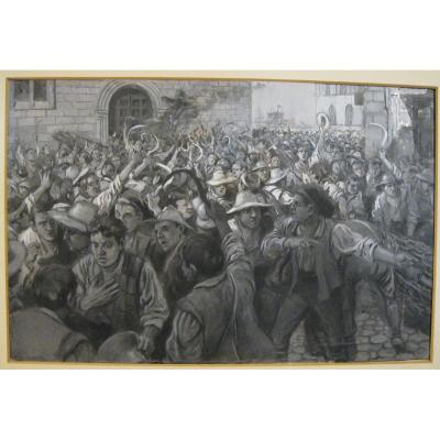 José Calderé Marti (19e-20e) - Gouache - Els Segadors - Catalogne -c1890-1900 grisaille