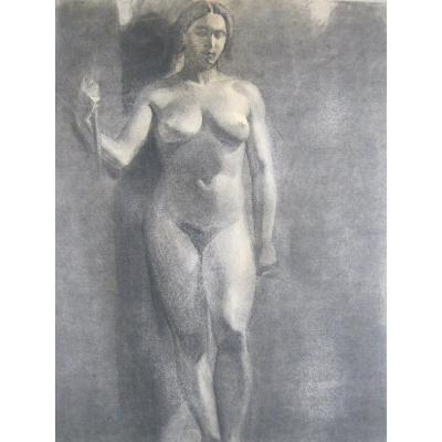Grand Dessin - Étude De Nu Féminin - 1920-1940 - Art Déco