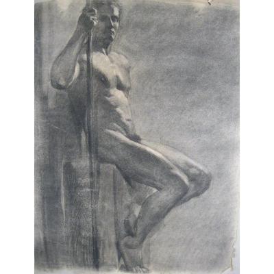 Grand Dessin - Étude d'Homme Nu - Guerrier - Veilleur - 1920-1940 - Art Déco