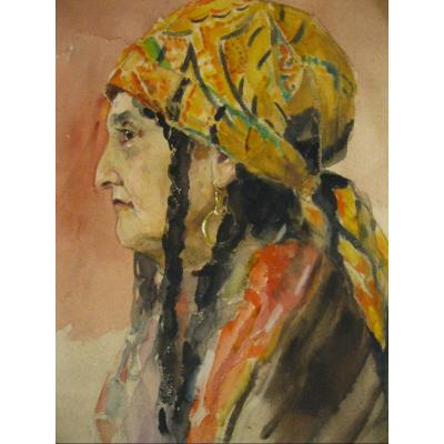 Large Lavis - Watercolor - Gypsy Or Oriental Woman - Late 19th Early 20th Century -