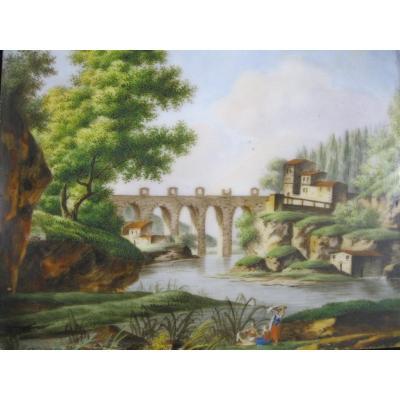 Paysage XVIIIe - Peinture Sur Plaque De Porcelaine - Circa 1830