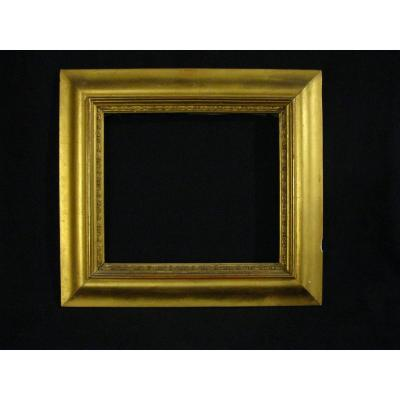 Frame In Wood And Stucco - Golden - 19th - / 32.7 X 29 Cm - Inside Rebate 23.4 X 20.4 Cm