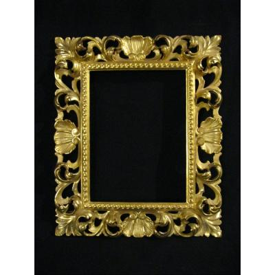 Carved And Gilded Wood Frame - Italian Work - Early 20th Century - Interior Rebate 24x17.8cm