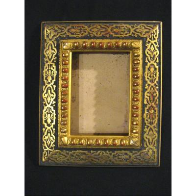 Wood And Stucco Frame - Golden - 19th - 25x21cm - Int Rebate 15.4x11cm