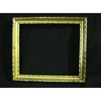 Frame In Wood And Stucco - Golden - Middle 19th - Interior Rebate 27.9x24 Cm