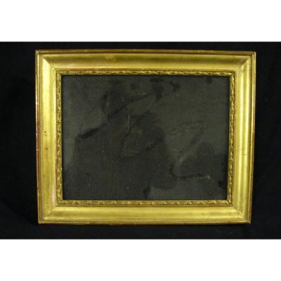 Frame In Wood And Stucco - Golden + Bubble Glass - 19th - Inside Rebate 30.7x23.3 Cm