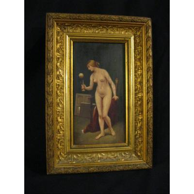 Naked Woman At Bilboquet - 1898 - André Combes - Oil On Panel - Period Frame