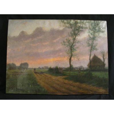 Landscape In The Setting Sun. Shepherd And Sheep. Oil On Canvas 19th. Barbizon 52x71cm Signed