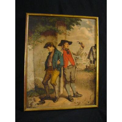 Large 19th Chromolithograph / The Smokers After The Tavern ...