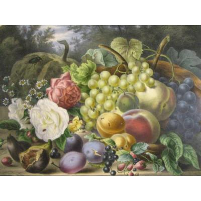 Elisa Champin - Bouquet Of Flowers And Fruits - Lithograph With Arabic Gum Flange -