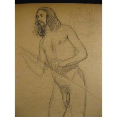 Academic Drawing Of Male Nude - 1900-1920 24,5x32 Cm