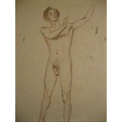 Academic Drawing Of Male Nude - 1900-1920 25x32 Cm