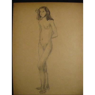 Academic Nude Drawing - Young Girl - 1900-1920 24x32 Cm