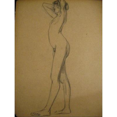 Academic Nude Drawing - Young Woman - 1900-1920 24x32 Cm