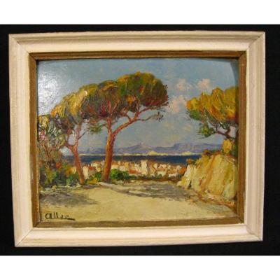Peinture à l'Huile Au Couteau  1950-1960   - Paysage De Méditerannée -  Signé