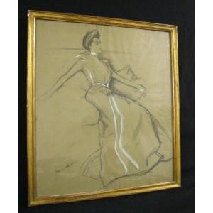 Pierre Georges Jeanniot - Beautiful Elegant - Large Drawing - Belle Époque - Circa 1890-1910