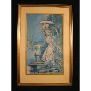 Léon Dax (actif Fin 19e) - Belle élégante 1900 - Grande Aquarelle 45 X 68 Cm