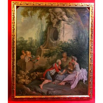 """Tableau pastoral """"la Fontaine de l'amour"""""""