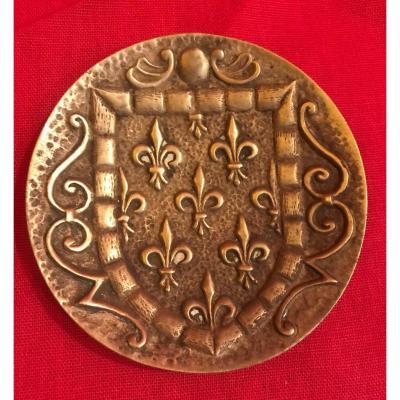 Empty Pouch Fleur De Lys Bronze M.leverrier