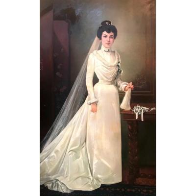 Tableau d'une jeune mariée en pied 1m96