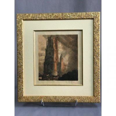 JOUVE Paul (1878-1973) LITHOGRAPHIE de la Cathédrale d''ALBI signature au crayon rouge