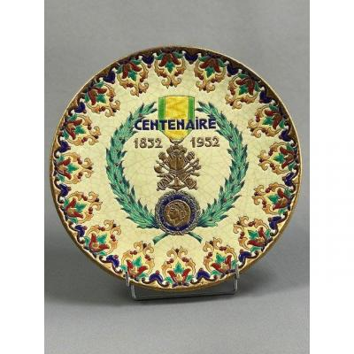 Militaria, Centenary Military Medal In Longwy Enamels, Epinal Celebration Of The Centenary