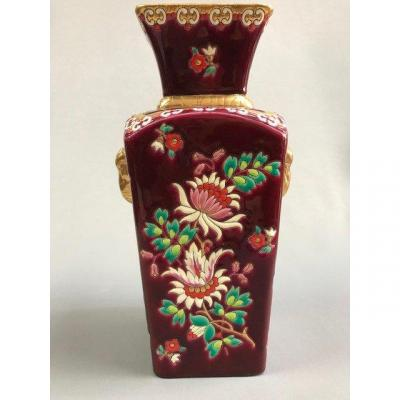 Longwy Enamels, Venice Model, Flowers, Gold Elephants On Red Background, Creation Mp Chevalier