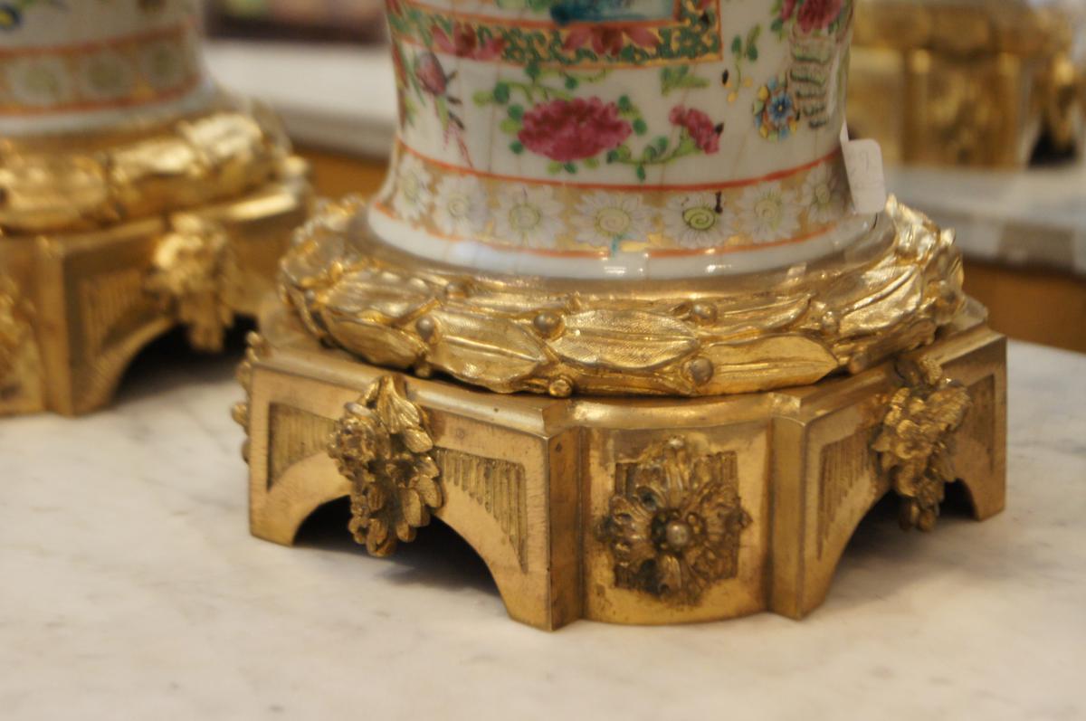 Paire grands vases craquel s chine monture bronze dor porcelaines anciennes - Antiquaires en ligne ...