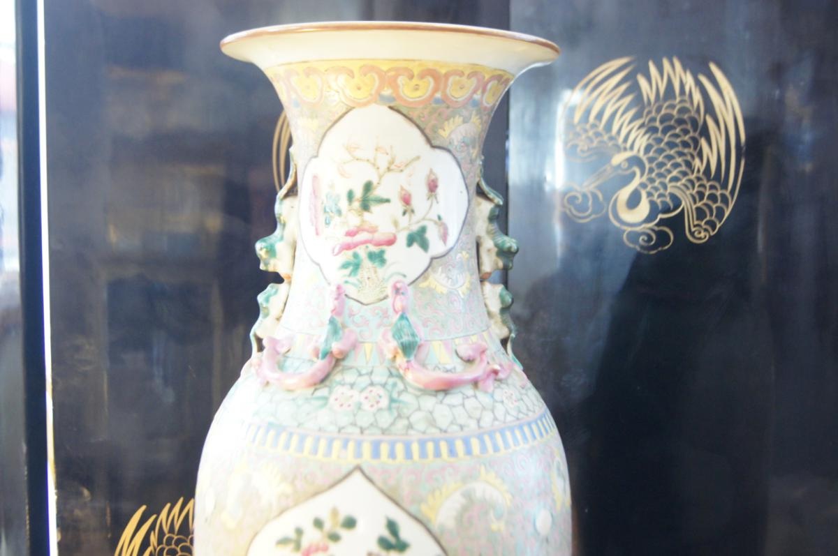 H 60 Cm Grand China Vase Fo Dogs
