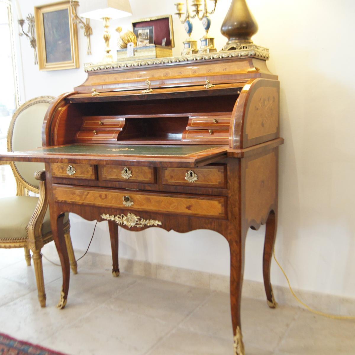 bureau cylindre marquet all gorie a musique bronzes dor s bureaux. Black Bedroom Furniture Sets. Home Design Ideas