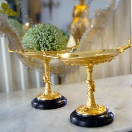 Paire de Baguiers en Bronze Doré