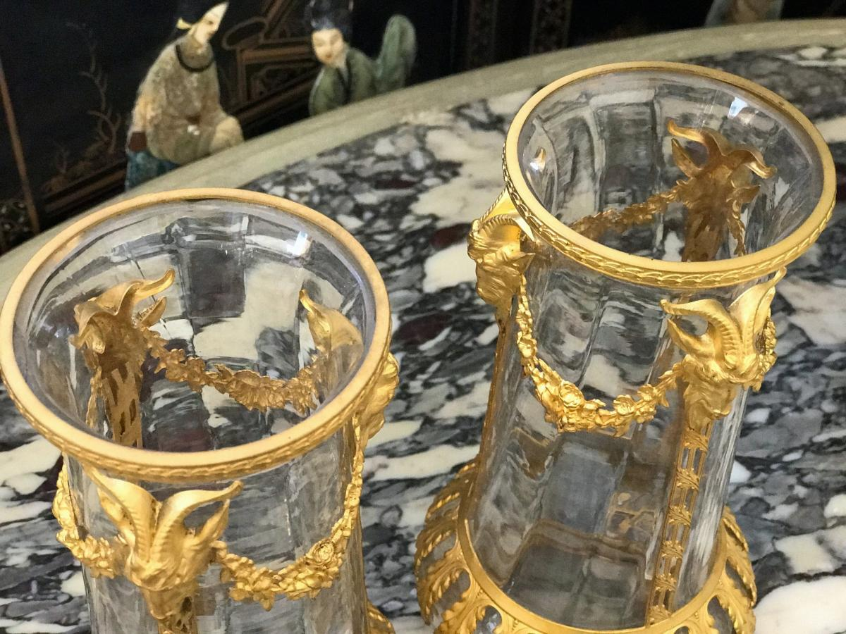 Pair Of Gilt Bronze Vases To The Rams Heads