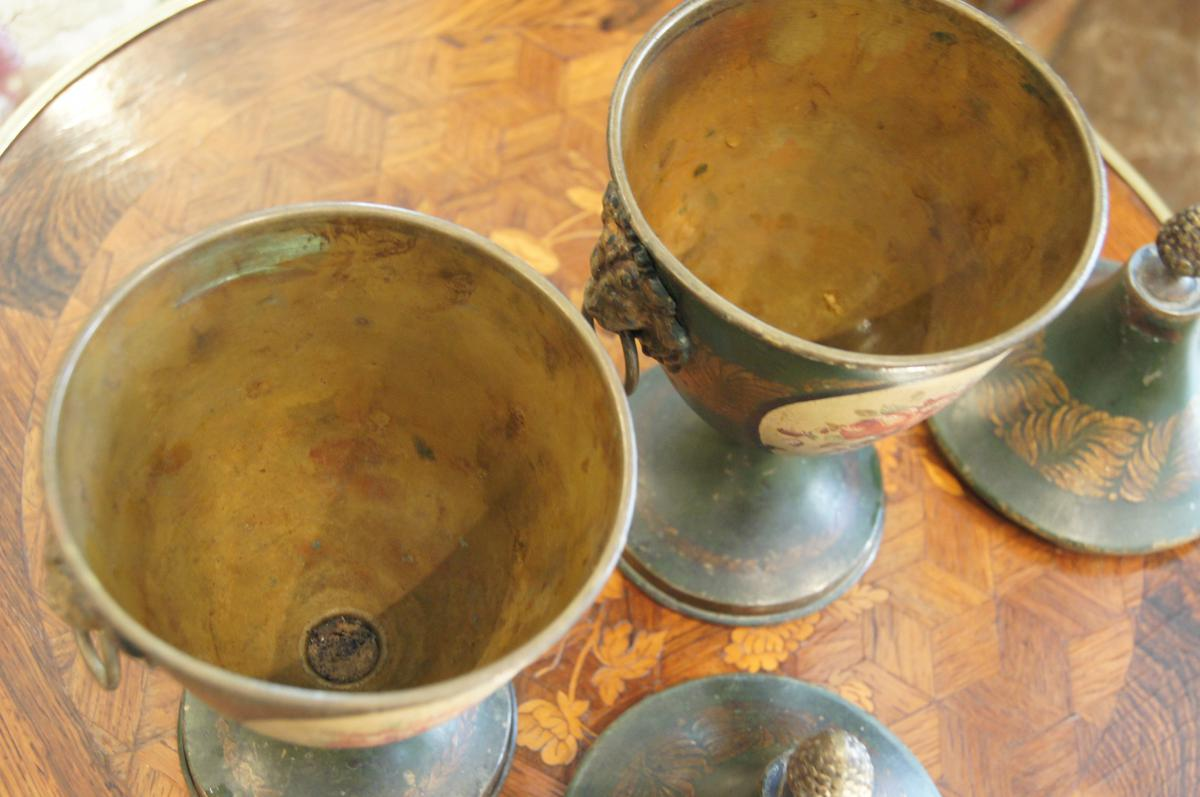 Paire vases couverts t le jardini res cache pots - Antiquaires en ligne ...