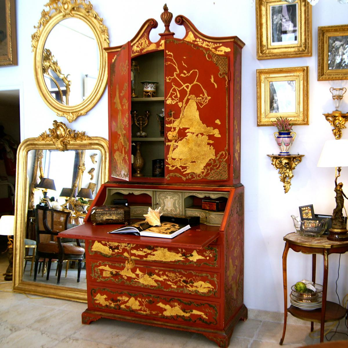 meuble scriban laque de chine rouge secretaires. Black Bedroom Furniture Sets. Home Design Ideas