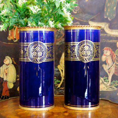 Paire Vases Porcelaine Montés Bronze, Couleur Bleu De Sèvres, Circa 1900