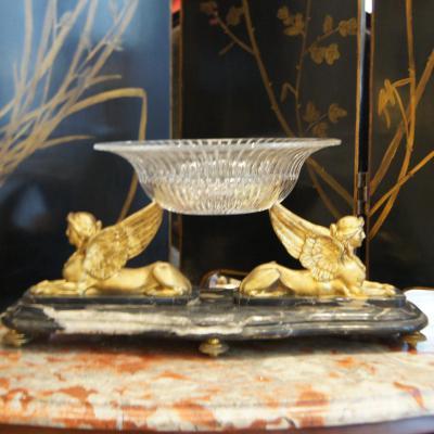 Coupe Aux Sphinges en Bronze Doré Et Marbre, Fin XIXe