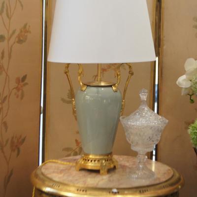 Lampe Porcelaine Celadon Monture Bronze Doré