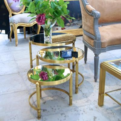 Set Of 3 Nesting Tables With Mirror Trays