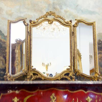 Paravent 3 Feuilles Bois Doré et Miroirs Style Louis XV