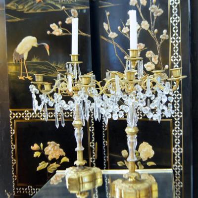 Paire de Girandoles Cristal et Bronze Doré Fin XIXe