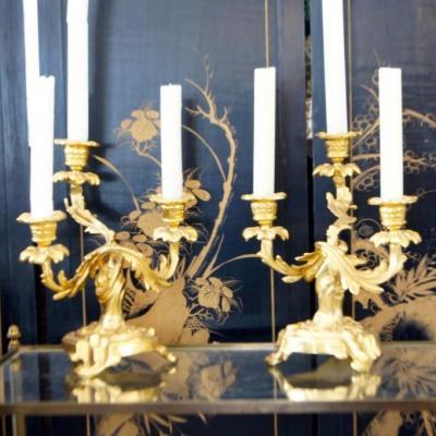 Candelabres Bronze Doré Louis XV Trois Feux