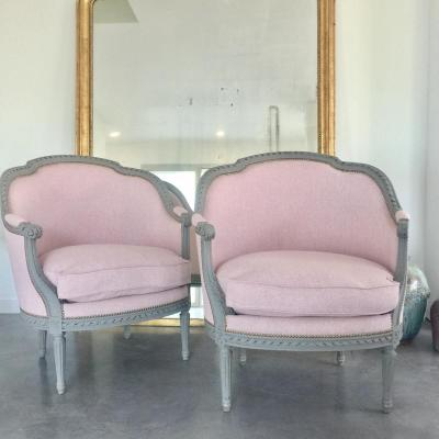 Pair Of  Large Bergere Chairs Lxvi Reupholstered