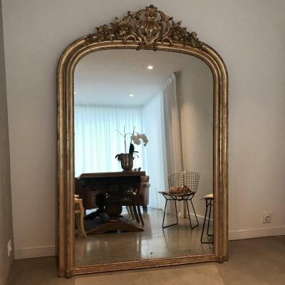 H 192 cm Miroir Doré Feuille Or Napoleon III