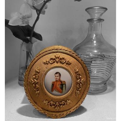 Coffret Laiton Doré Et Porcelaine Napoleon III