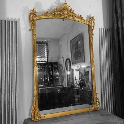 H 158 cm Miroir LXV Feuille Or Fin XIXe